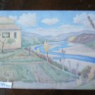 Landscape Countryside Valley of Reno Painting Vintage to Watercolour P23