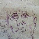Portrait Male Old Drawing Sketch a Pen on Basket of G.Pancaldi P28.5