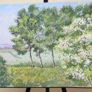 Antique Painting Oil on board Painting Landscape Countryside Trees in flower P31