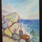 Old Painting to Watercolour on Basket Opera of Painter Gaetano Pancaldi P14