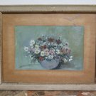 Antique Painting to Oil on board Painting Style Impressionist with Flowers G5
