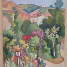 Painting Modern Del 900 Landscape Countryside with in Summer Flowers Signed p4
