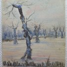 Small Painted Antique Watercolour on Card Landscape Winter Snowy P28M