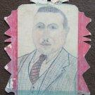 Drawing Antique Portrait Male 1940 about Pencil on Basket Original P28.6