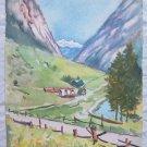 Watercolour Antique Landscape Di Montagna Alps Alpine Dolomites Original 1960 P9