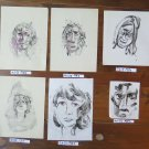Five Antique Sketching D'Author Studies for Portrait Face Human Waterlily P28.5