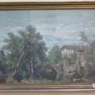 Antique Painting a Toughened Gouache Landscape First `S with Frame Coeval X1
