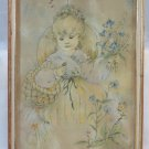 Lovely Engraving Vintage Portrait of Little Girl with Frame Wooden First 900 SO1