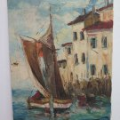 Painting Oil View of Saint Tropez France Costa Azure Blue City' Old R94