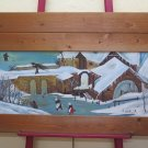 Large Painting Oil Landscape Winter Christmas with Snowflake 58 5/16x33 1/8in