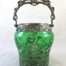 Antique Bucket For Ice Glass Art Nouveau Hand Painted BM14