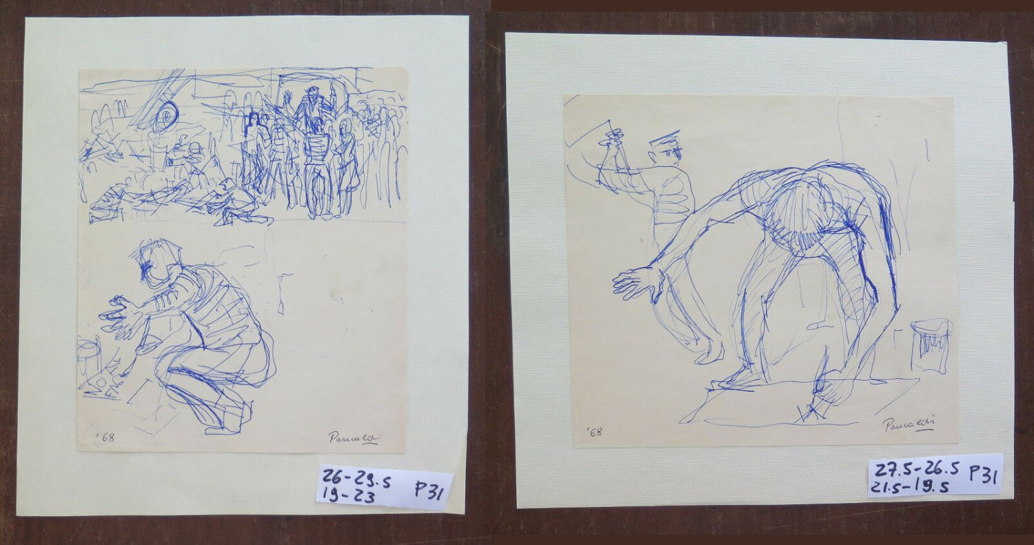 Pair Of drawings Sketch Signed Dated '68 Figures The Work P31