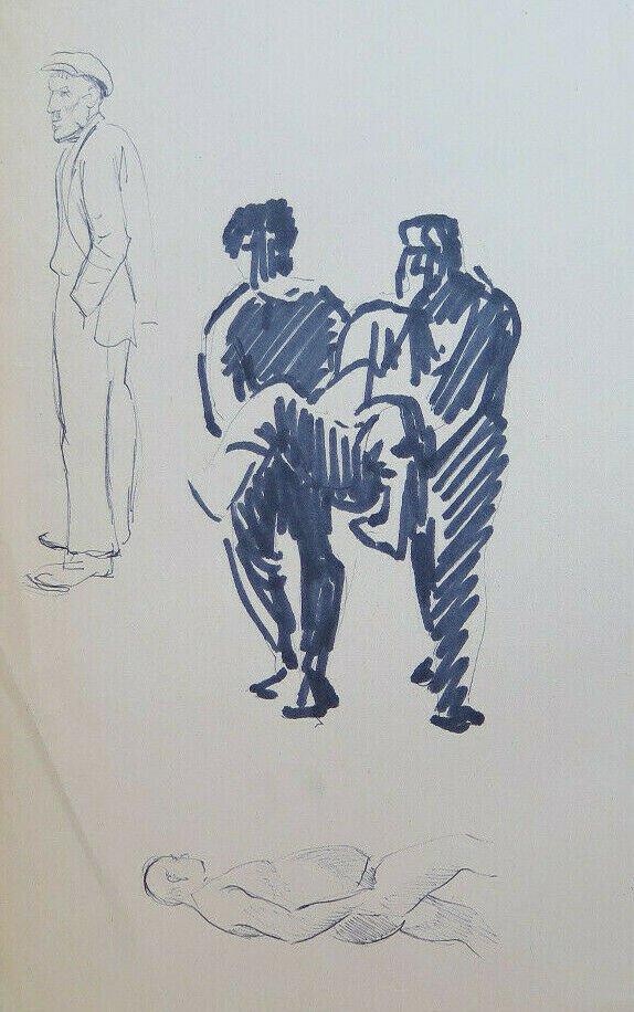 Drawing Sketch On Basket Studio For Shapes Man's Portrait Vintage P28.7