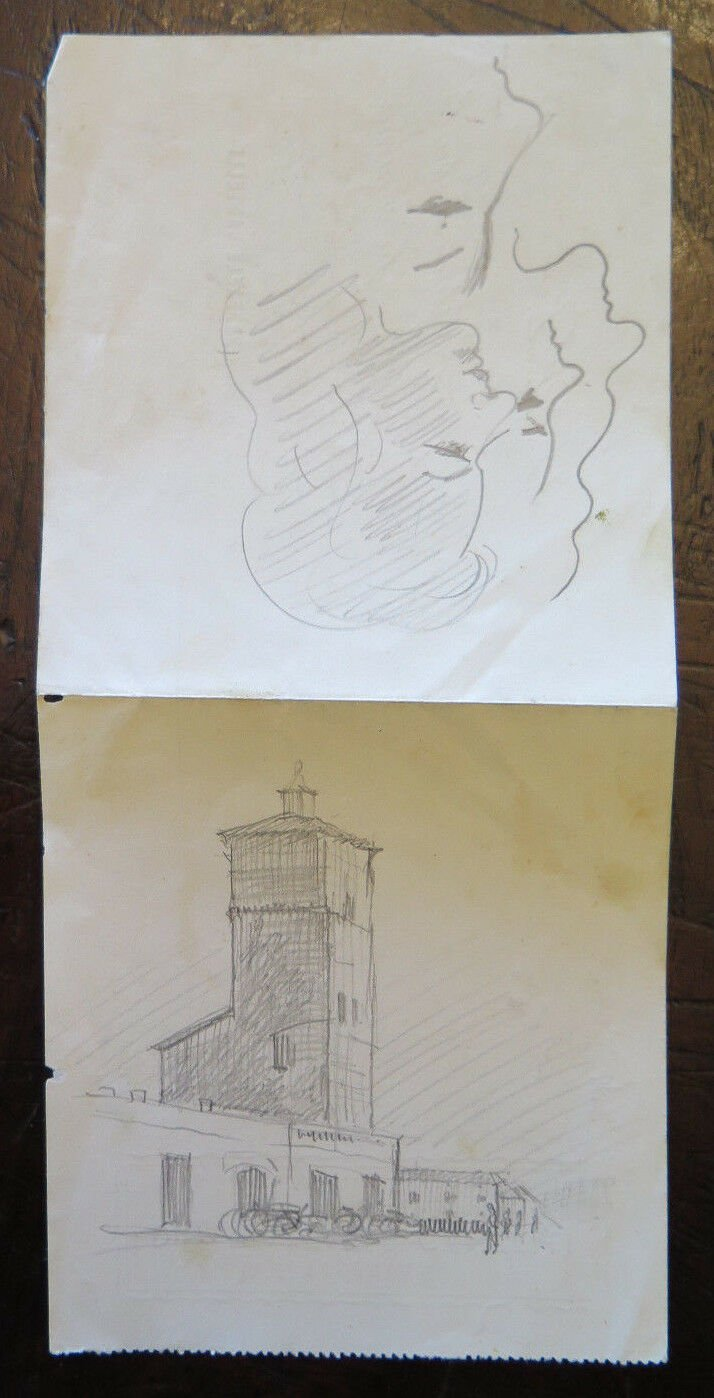 Drawing Sketch Antique On Back of A Bill of Exchange Studio Faces Female P28.5