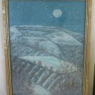 Painting To Watercolour Vintage landscape Night Moon Xmas Under The Snow BM46