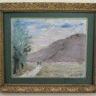 Painting Antique Impressionist Signed Rieza 1912 W Frame Coeval landscape BM44
