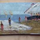 Old Painting To oil Small Size Signed Marina Sea landscape MD1