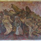 Antique Painting To oil On Board Inside With Shapes Abstract Opera Original p12
