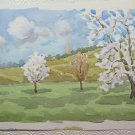 Old Painting To Watercolour On Basket landscape IN Spring Trees Flower P28M