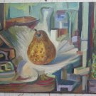 Painting Antique 1960's Inside With Items Painting oil On Board p12