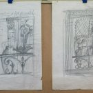 Two drawings Project Sculpture Studio Vintage For Exhibition Art France BM53.3