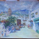 Painting oil On Linen Signed Opera Painter Spanish V.Segura View Country MD6