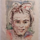 Antique Portrait Of Little Girl Years Fifty Painting To Watercolour P28.53