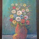 Painting To oil On Board Style Impressionist Blossom Floral V