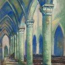 Antique Painting Inside Church Pierre Eugène Duteurtre Dut 1911-1989 BM53.1