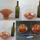 Collection Of Glasses Vintage Carnival Galss Vase Cups Bowl BM14 26 28 32