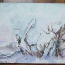 Watercolour Vintage landscape Winter With Snow Signed Pancaldi Orginal p11