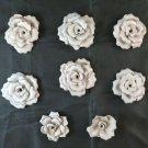 Collection Of 8 Blossom Rose IN Ceramic White Vintage BM28