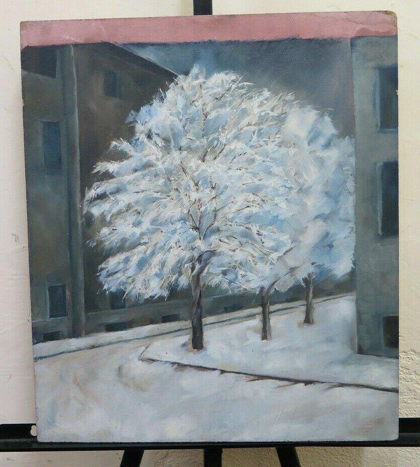 Anonimo Piedmont Years 50 Painting Vintage View City Snowy Snow BM45
