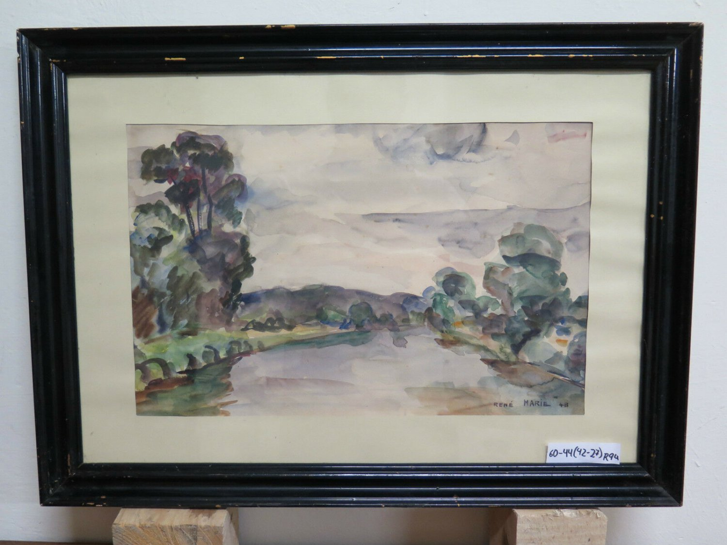 Antique Painting landscape French Painting To Watercolour Original Signed R94