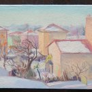 Antique Painting oil On Board Painting Style Impressionist landscape Snow p16