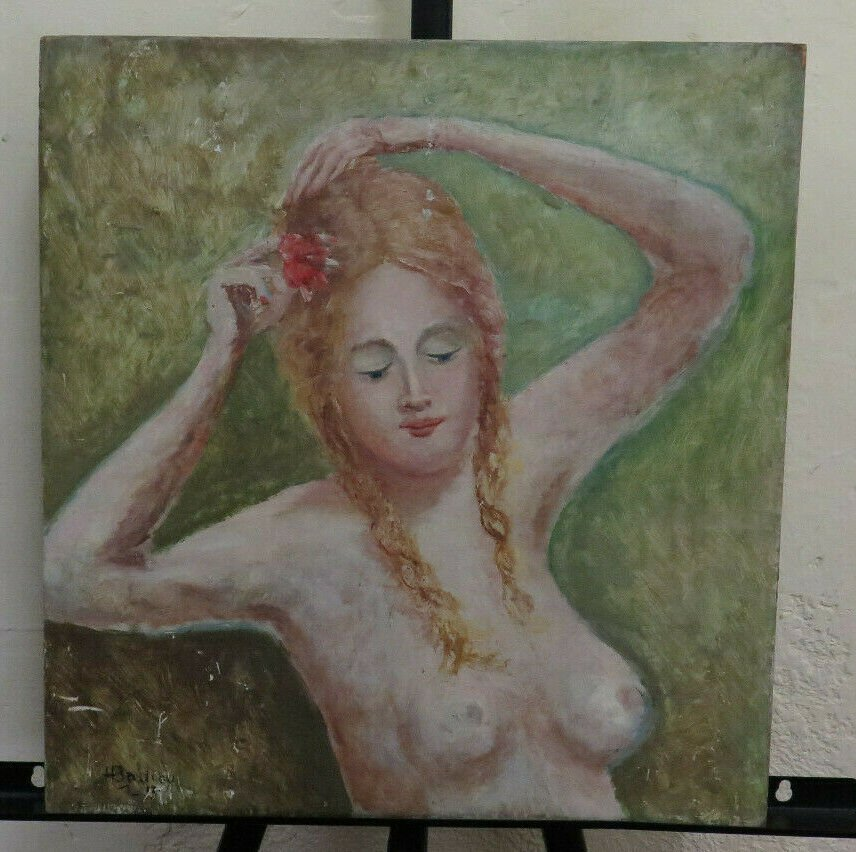 Painting Antique Nude Feminine To oil Signed France Beginning Century BM40
