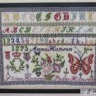 Antique Sampler Embroidery Needlepoint 1875 Sampler Needlework Cross Stitch R108