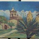 Texas Mission St José St Antonio Tx Old Painting oil landscape BM51