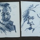 Two Old drawings Sketching Studio Portrait Male Faces Human P28.6