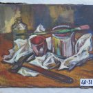 Painting Antique Painting To oil Inside With Items D' Daily Use Original p9