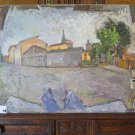 Landscape Countryside Painting Antique Painting To oil On Board Original p8