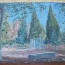 Painting Antique View Entrance Escorial Monastery Madrid Painting oil Linen MD7