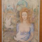 Painting Watercolour Frosted Portrait Nude Feminine A Venice With Pigeon Ps