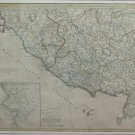 Engraving Antique Basket Geographical Map Italy Central 1745 John Senex X9