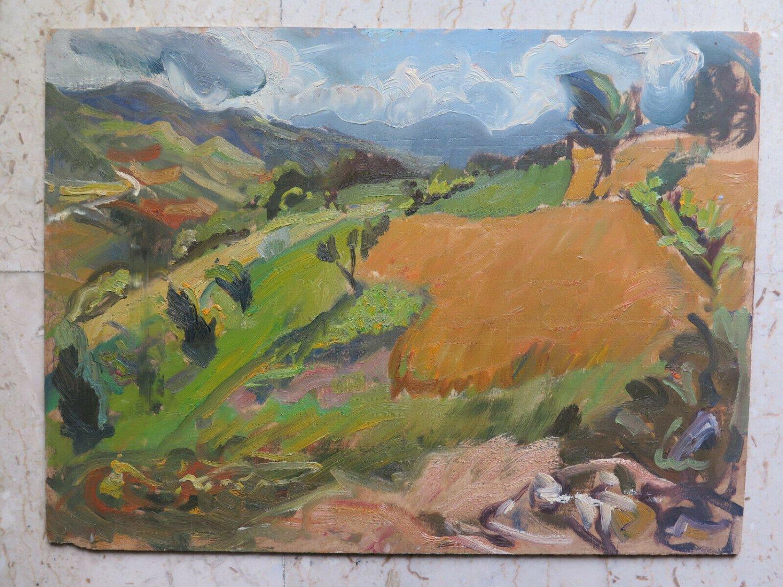 Painting oil On Board landscape Campi Gaetano Pancaldi Painter Modena P12