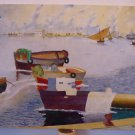 Boats IN La Cale To Porto Painting Signed Seguta Period 900 Spain Painting MD9