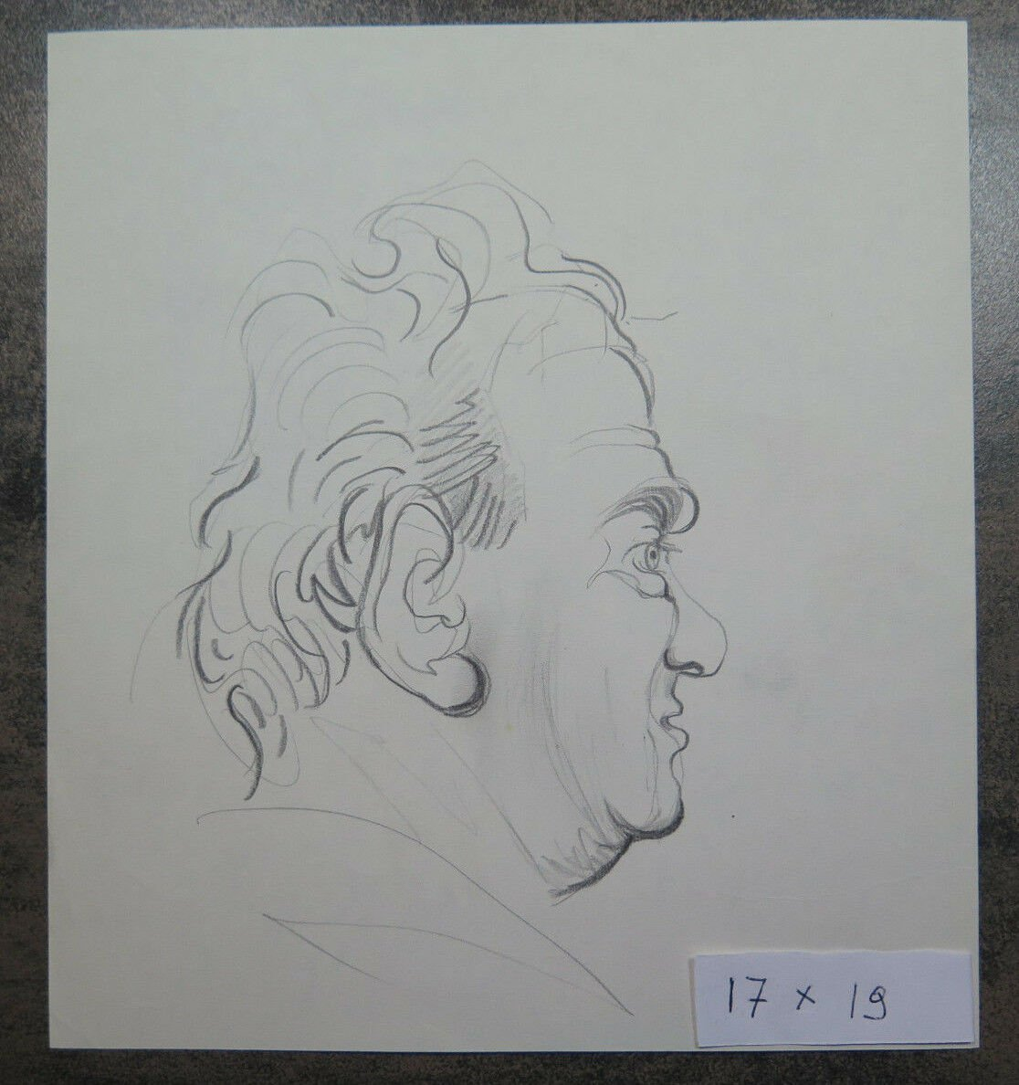 Antique Sketch Pencil On Basket Portrait Male Years Quaranta Vintage P28