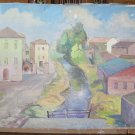Painting Antique Painting To oil On Board landscape City With Warranty p17