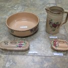 Antique Service For Toilet IN Ceramic Pitcher Bowl And Accessories Set R72