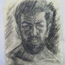 Antique Portrait Male Man Bearded Pencil On Basket Years Quaranta 1940 P28